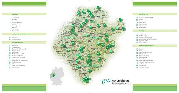 Die 50 Naturschätze Südwestfalens liegen in den Kreisen Soest, Hochsauerlandkreis, Märkischer Kreis, Kreis Olpe und dem Kreis Siegen-Wittgenstein