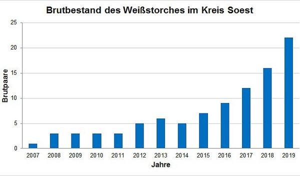 Bestandsentwicklung des Weißstorches im Kreis Soest von 2007 bis 2019 (ABU)