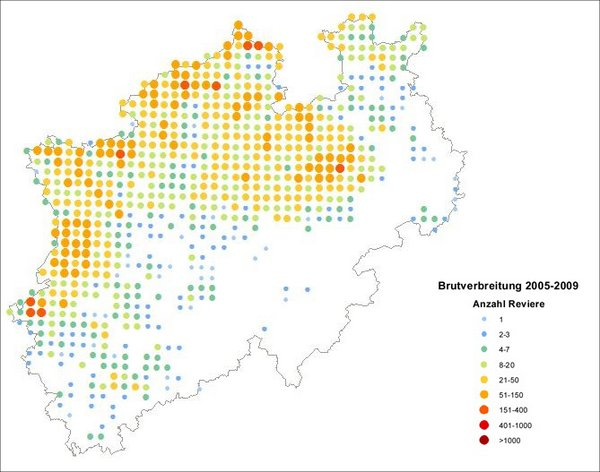 Verbreitung des Kiebitzes in NRW (NW-O 2013)